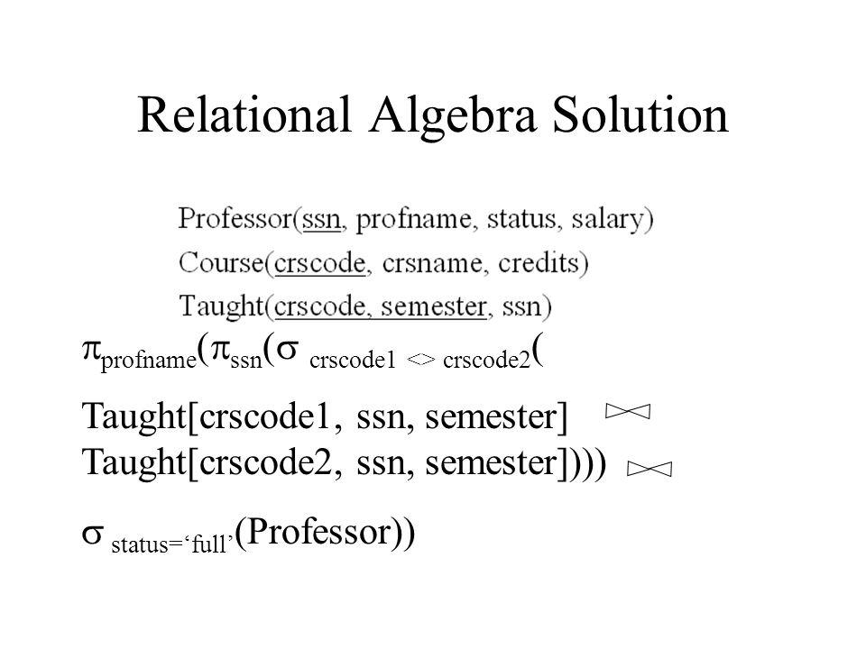 Relational Algebra Solution  profname (  ssn (  crscode1 <> crscode2 ( Taught[crscode1, ssn, semester]  Taught[crscode2, ssn, semester])))  status='full' (Professor))