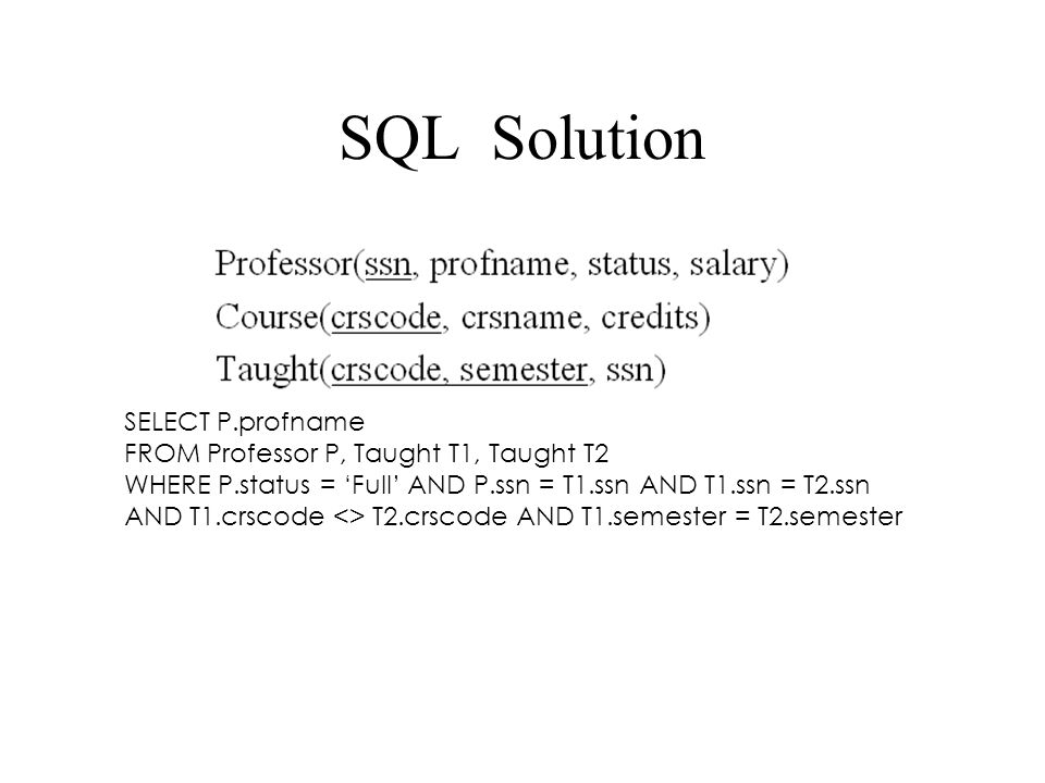 SQL Solution SELECT P.profname FROM Professor P, Taught T1, Taught T2 WHERE P.status = 'Full' AND P.ssn = T1.ssn AND T1.ssn = T2.ssn AND T1.crscode <> T2.crscode AND T1.semester = T2.semester