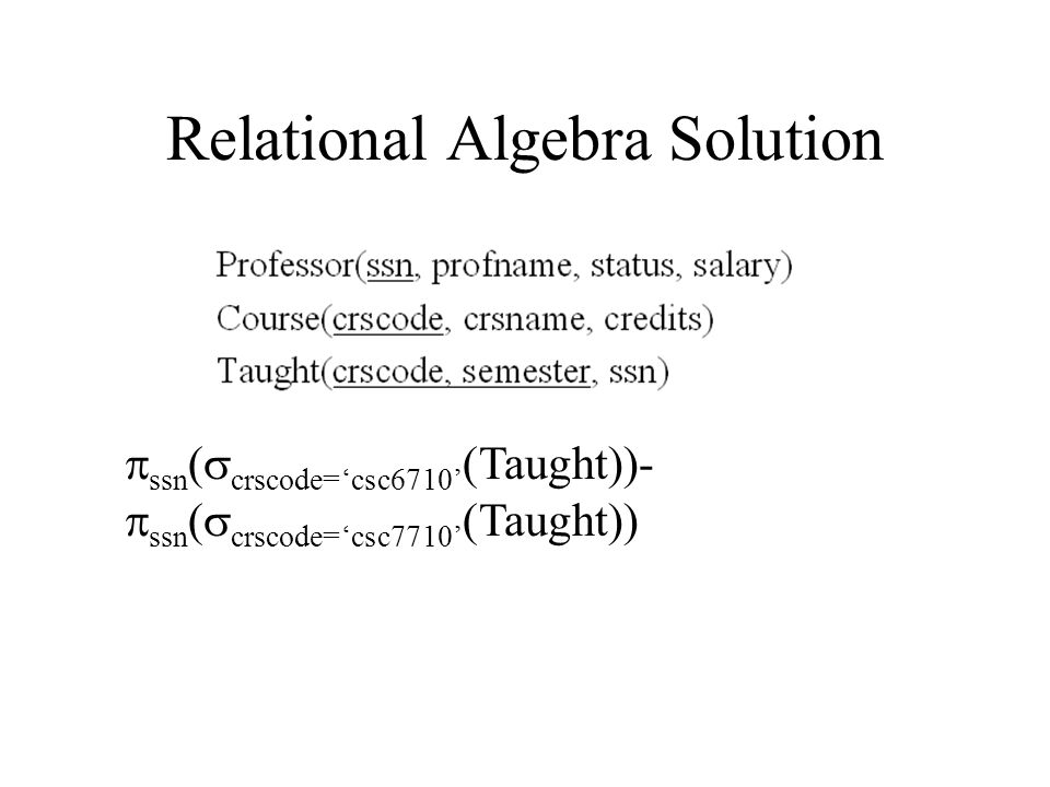 Relational Algebra Solution  ssn (  crscode='csc6710' (Taught))-  ssn (  crscode='csc7710' (Taught))