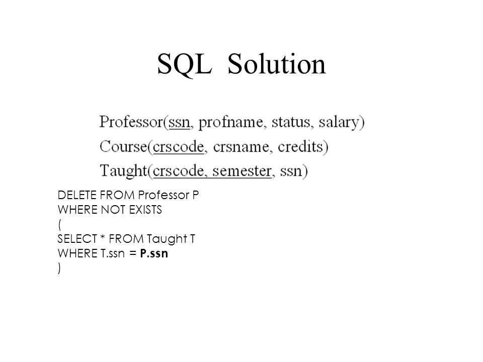 SQL Solution DELETE FROM Professor P WHERE NOT EXISTS ( SELECT * FROM Taught T WHERE T.ssn = P.ssn )