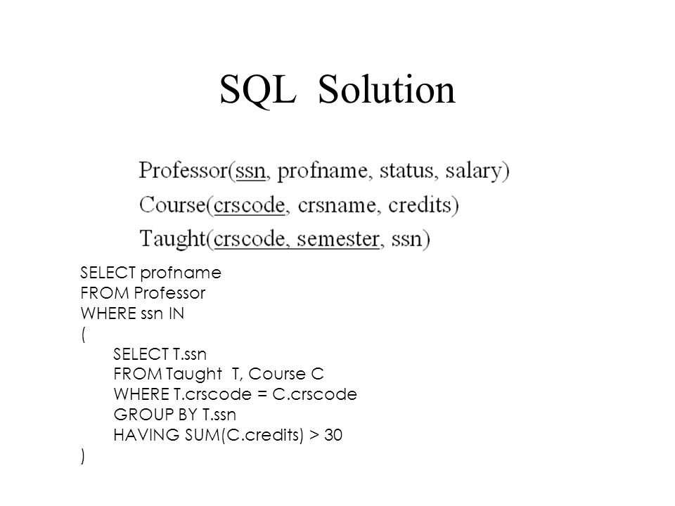 SQL Solution SELECT profname FROM Professor WHERE ssn IN ( SELECT T.ssn FROM Taught T, Course C WHERE T.crscode = C.crscode GROUP BY T.ssn HAVING SUM(C.credits) > 30 )