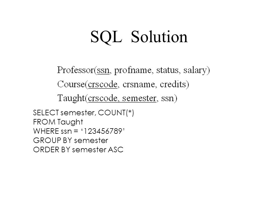 SQL Solution SELECT semester, COUNT(*) FROM Taught WHERE ssn = '123456789' GROUP BY semester ORDER BY semester ASC