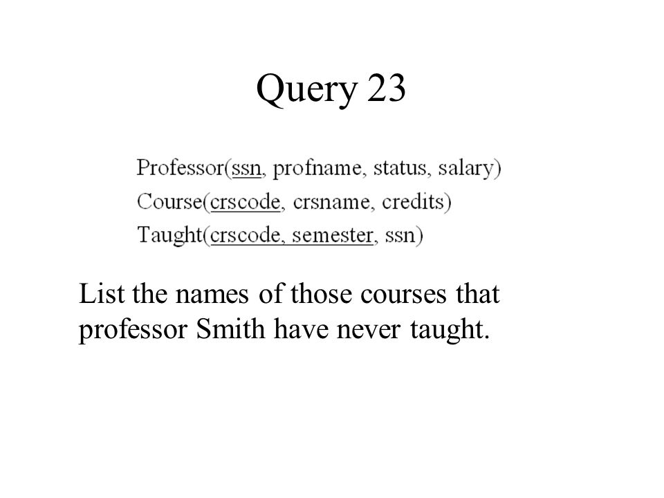 Query 23 List the names of those courses that professor Smith have never taught.