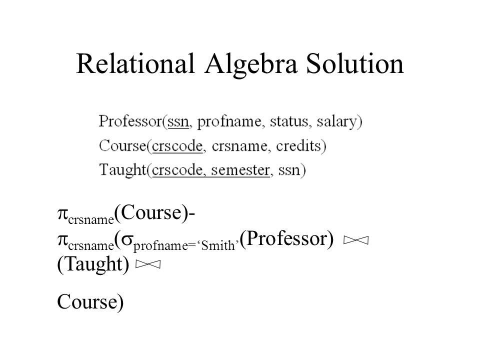 Relational Algebra Solution  crsname (Course)-  crsname (  profname='Smith' (Professor) (Taught) Course)