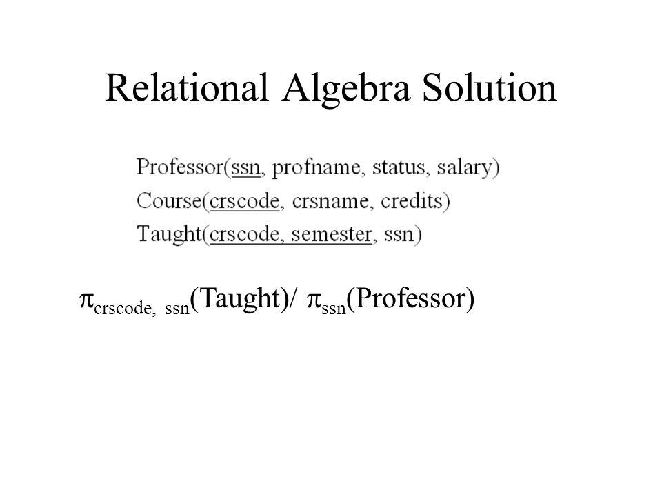 Relational Algebra Solution  crscode, ssn (Taught)/  ssn (Professor)