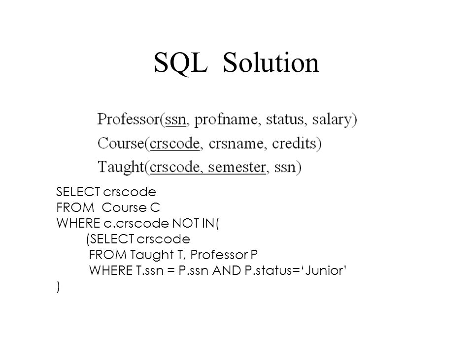SQL Solution SELECT crscode FROM Course C WHERE c.crscode NOT IN( (SELECT crscode FROM Taught T, Professor P WHERE T.ssn = P.ssn AND P.status='Junior' )