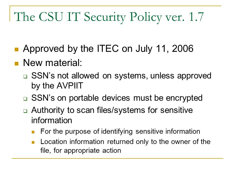 Key Escrow Crucial to acceptance of an encryption tool  Loss of password must not = loss of data forever ACNS will provide hosting  Offline, redundant storage (not networked)  Physical security (monitored, locked, alarmed)  Consistent naming conventions (for scalability) May be intermediate step toward a future CA  Better scalability, automation, ease of use  Support for email encryption, client certificates