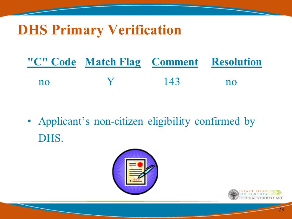 23 DHS Primary Verification C Code Match Flag Comment Resolution no Y 143 no Applicant's non-citizen eligibility confirmed by DHS.