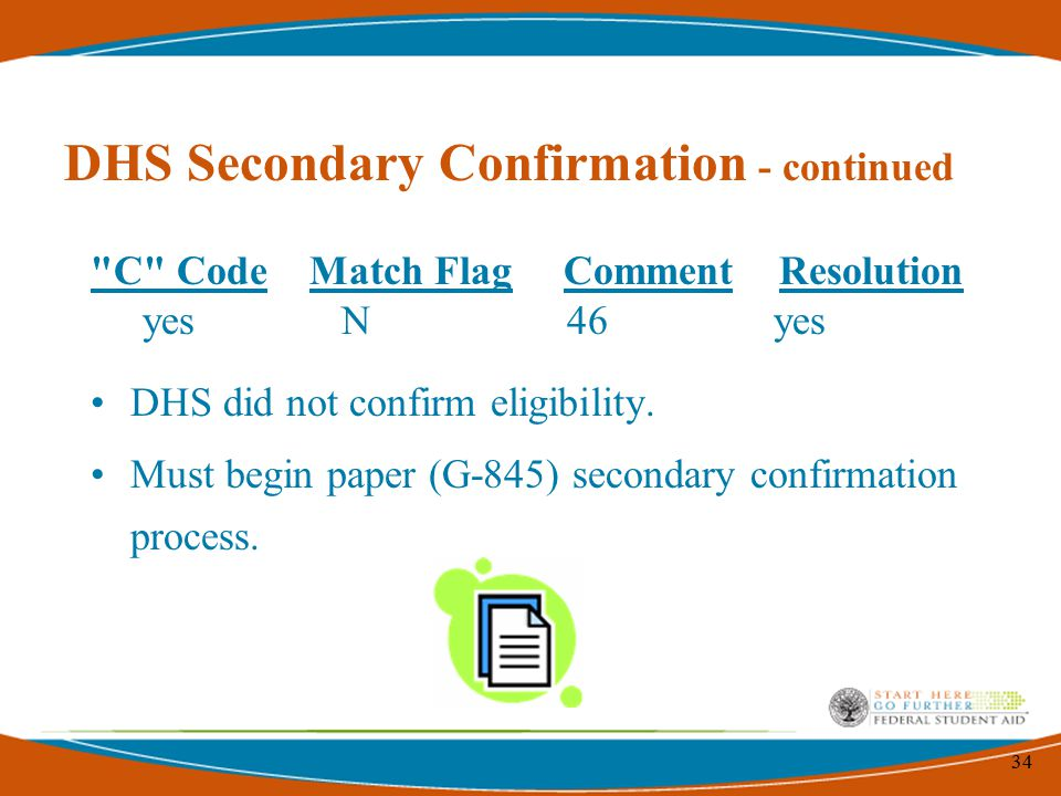34 C Code Match Flag Comment Resolution yes N 46 yes DHS did not confirm eligibility.