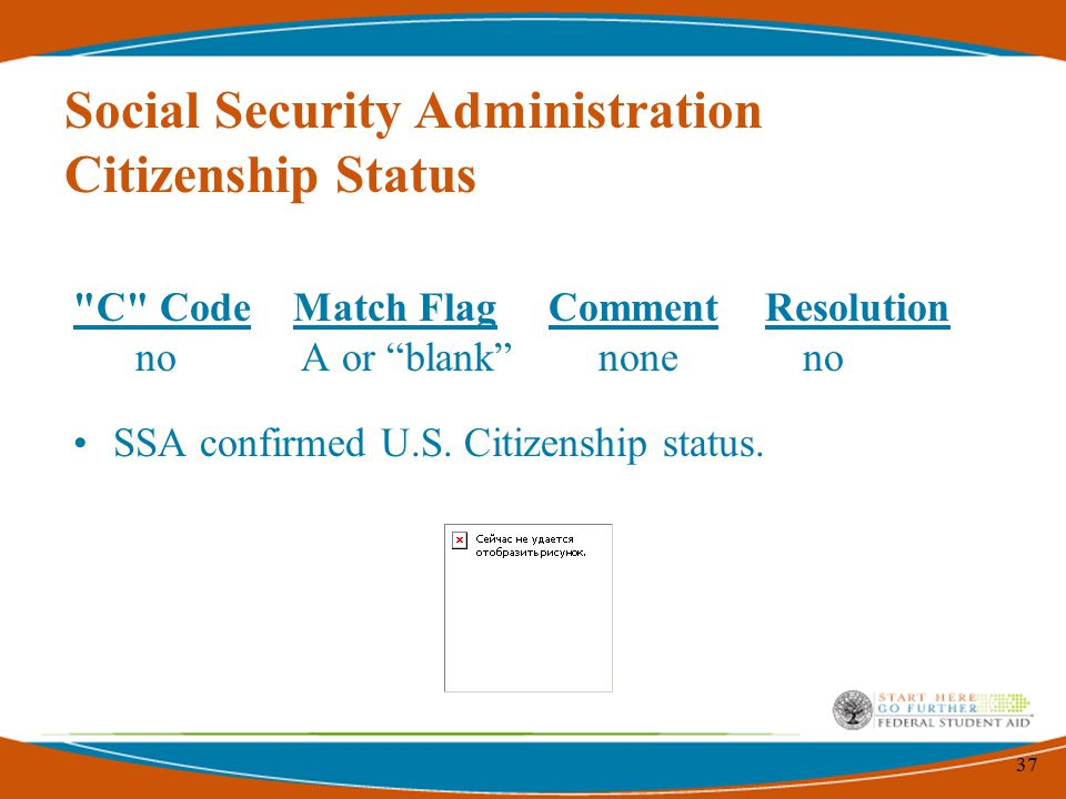 37 C Code Match Flag Comment Resolution no A or blank none no SSA confirmed U.S.