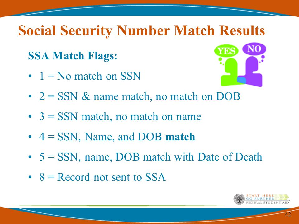 42 Social Security Number Match Results SSA Match Flags: 1 = No match on SSN 2 = SSN & name match, no match on DOB 3 = SSN match, no match on name 4 = SSN, Name, and DOB match 5 = SSN, name, DOB match with Date of Death 8 = Record not sent to SSA