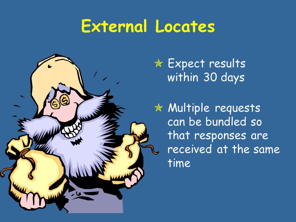 External Locate Sources  SSA Benefits, Employment  VA Pension, Compensation, Educational Benefits, Incarceration Status  IRS SSN, Name, 1099 Data  DOD Retirees  FBI Employment