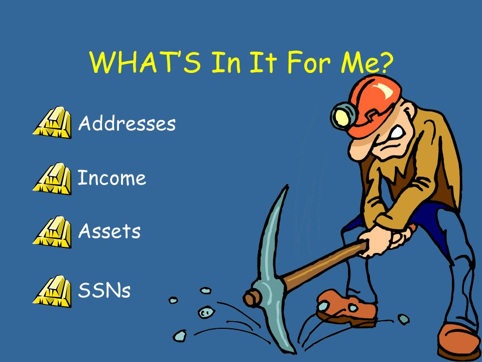 WHAT'S In It For Me? Addresses Income Assets SSNs
