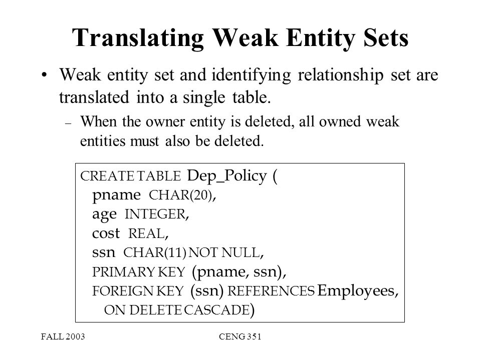 FALL 2003CENG 351 Translating Weak Entity Sets Weak entity set and identifying relationship set are translated into a single table. – When the owner e