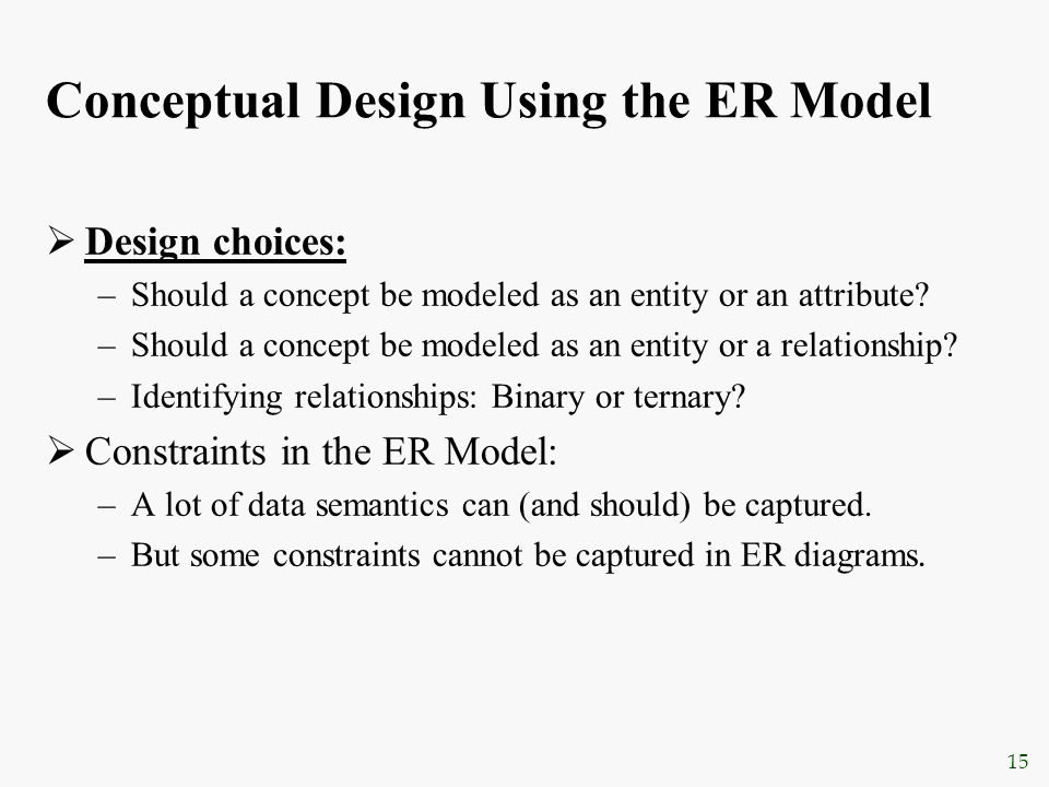 15 Conceptual Design Using the ER Model  Design choices: –Should a concept be modeled as an entity or an attribute? –Should a concept be modeled as a