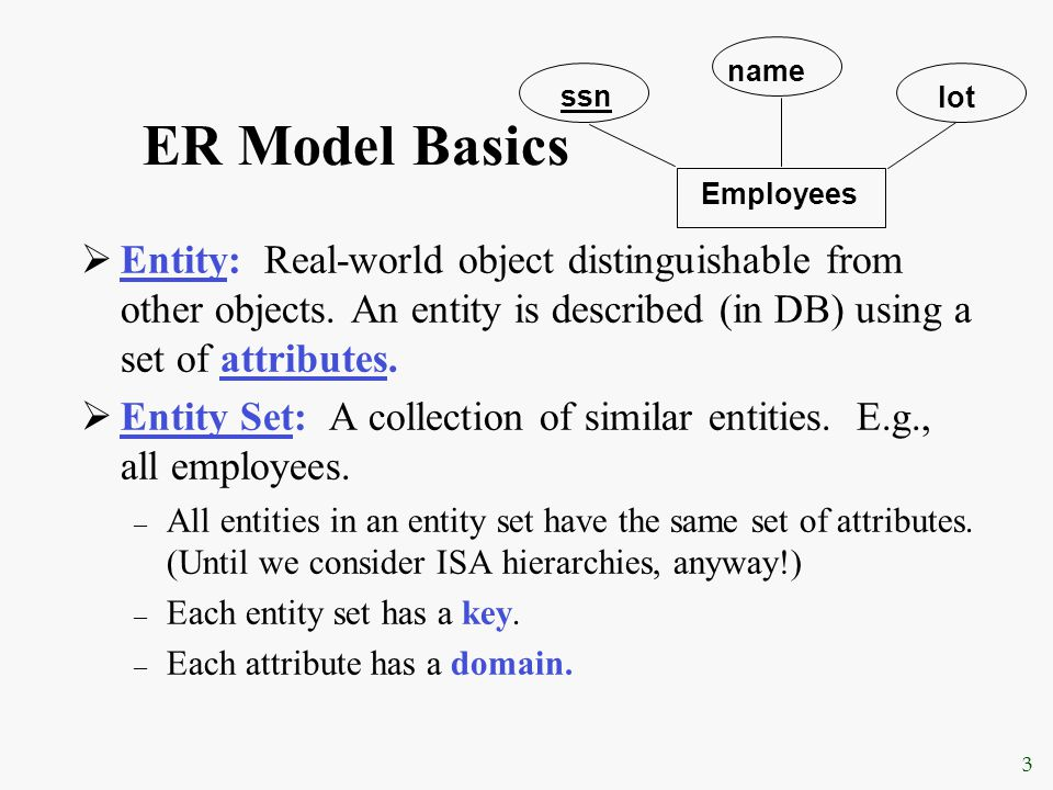 FALL 2003CENG 351 Logical DB Design: ER to Relational Entity sets to tables: CREATE TABLE Employees (ssn CHAR (11), name CHAR (20), lot INTEGER, PRIMARY KEY (ssn)) Employees ssn name lot
