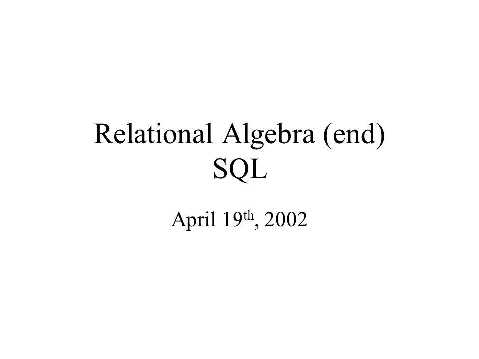 Relational Algebra (end) SQL April 19 th, 2002