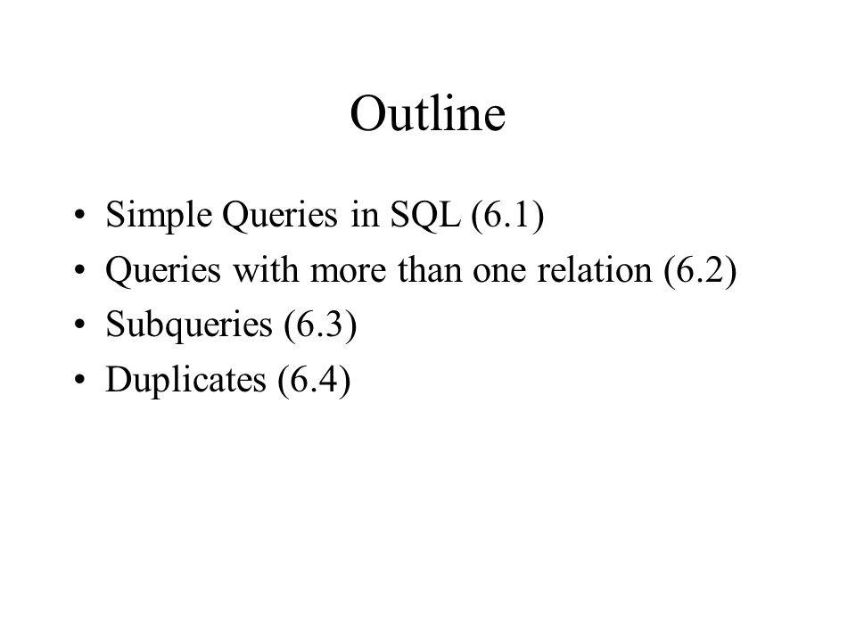 SQL Introduction Standard language for querying and manipulating data Structured Query Language Many standards out there: SQL92, SQL2, SQL3, SQL99 Vendors support various subsets of these, but all of what we'll be talking about.