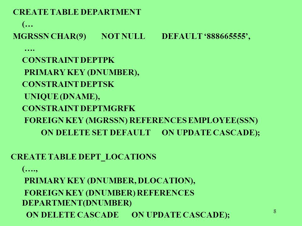 9 DROP TABLE - Used to remove a relation (base table) and its definition -The relation can no longer be used in queries, updates, or any other commands since its description no longer exists EXAMPLE DROP SCHEMA COMPANY CASCADE; (dropped everything) DROP SCHEMA COMPANY RESTRICT; dropped if it has no element DROP TABLE DEPENDENT CASCADE; all related views etc are also dropped.