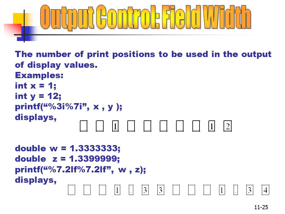 11-25 The number of print positions to be used in the output of display values.