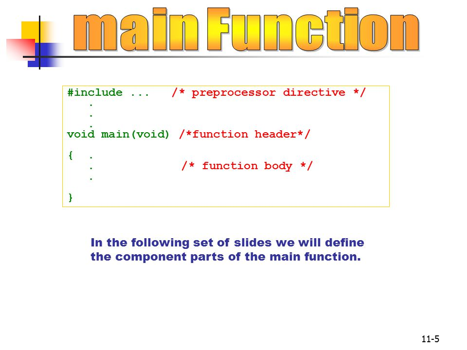 11-5 #include... /* preprocessor directive */. void main(void) /*function header*/ {..