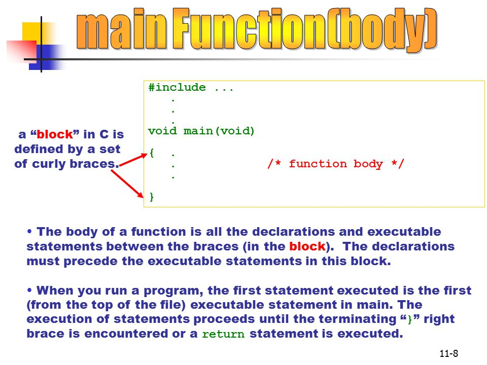 11-8 #include.... void main(void) {.. /* function body */.