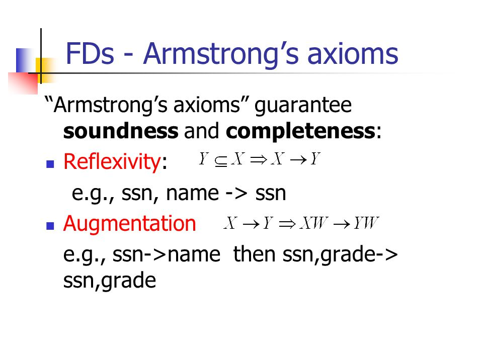 "FDs - Armstrong's axioms ""Armstrong's axioms"" guarantee soundness and completeness: Reflexivity: e.g., ssn, name -> ssn Augmentation e.g., ssn->name t"