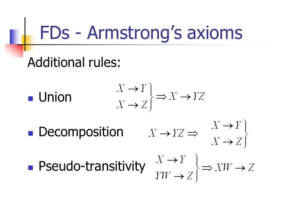 FDs - Armstrong's axioms Additional rules: Union Decomposition Pseudo-transitivity