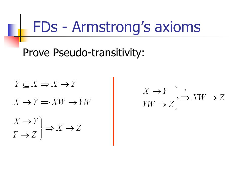 FDs - Armstrong's axioms Prove Pseudo-transitivity: