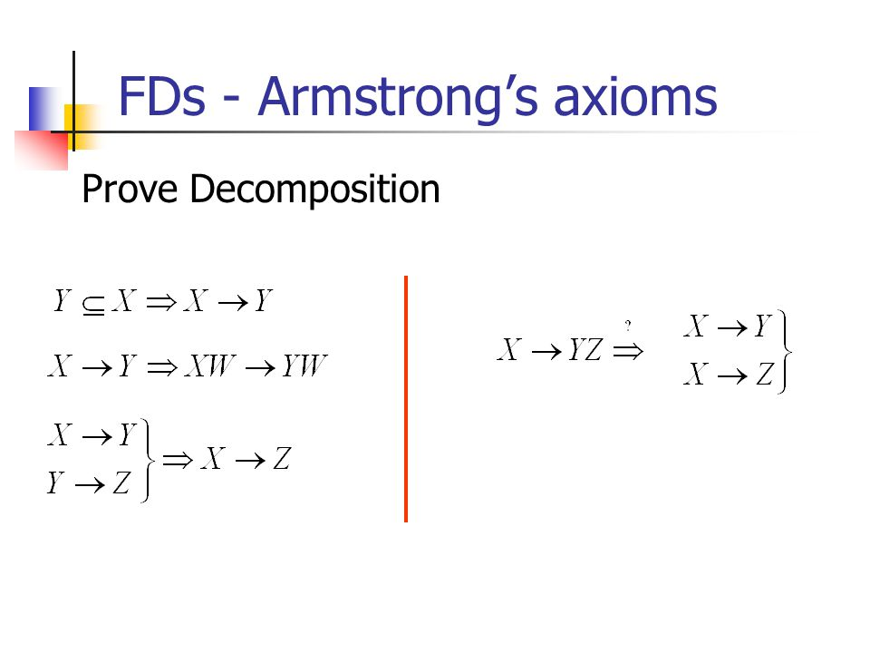 FDs - Armstrong's axioms Prove Decomposition