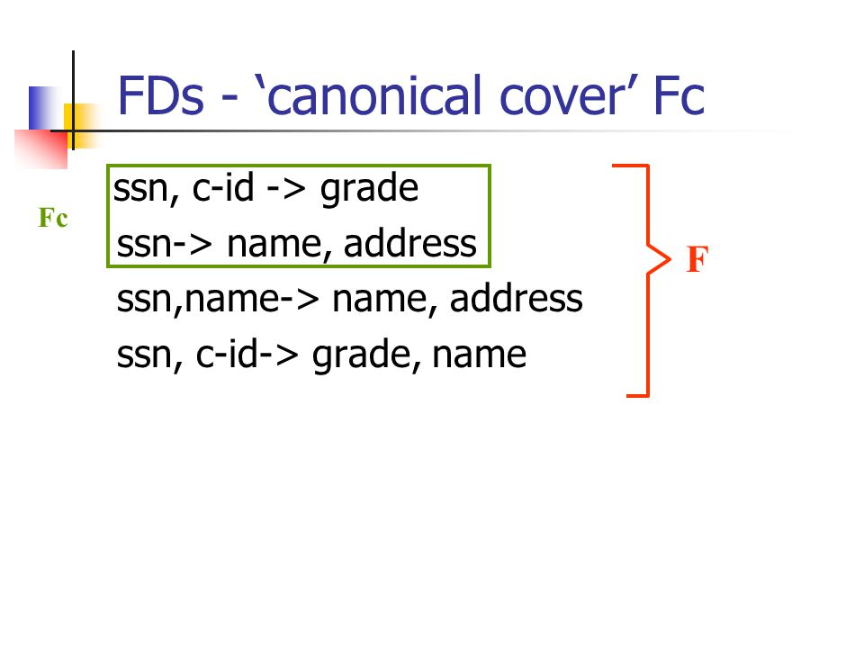 FDs - 'canonical cover' Fc ssn, c-id -> grade ssn-> name, address ssn,name-> name, address ssn, c-id-> grade, name F Fc