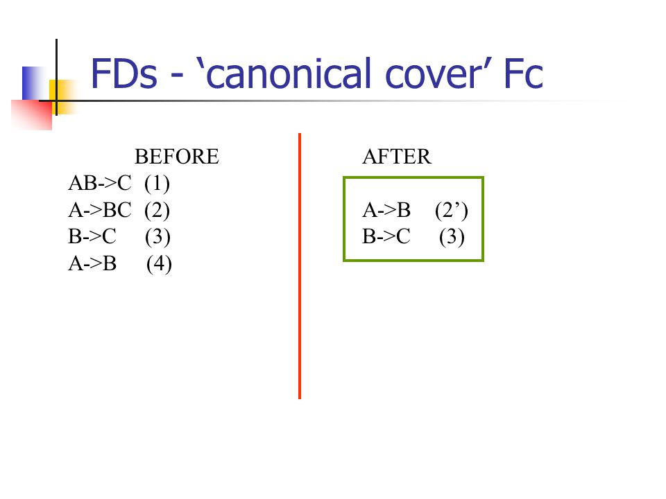 FDs - 'canonical cover' Fc AFTER A->B (2') B->C (3) BEFORE AB->C (1) A->BC (2) B->C (3) A->B (4)