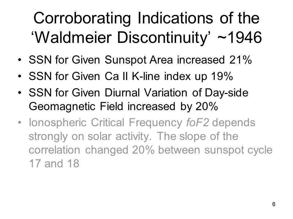 6 Corroborating Indications of the 'Waldmeier Discontinuity' ~1946 SSN for Given Sunspot Area increased 21% SSN for Given Ca II K-line index up 19% SSN for Given Diurnal Variation of Day-side Geomagnetic Field increased by 20% Ionospheric Critical Frequency foF2 depends strongly on solar activity.