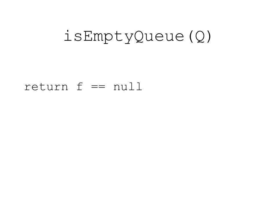 isEmptyQueue(Q) return f == null
