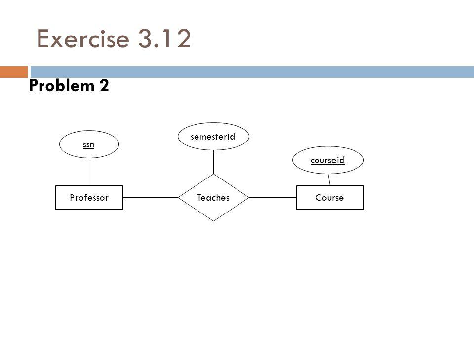 Exercise 3.12 Problem 2 Professor Teaches ssn Course semesterid courseid