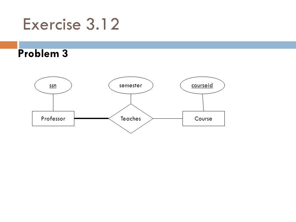 Exercise 3.12 Problem 3 Professor Teaches ssn Course courseidsemester