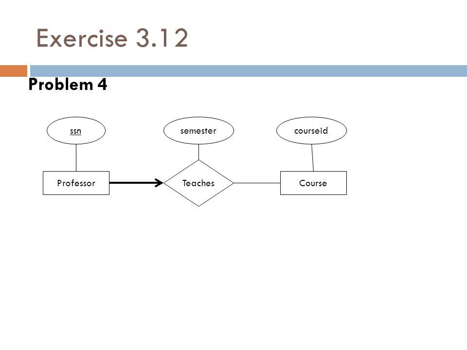 Exercise 3.12 Problem 4 Professor Teaches ssn Course courseidsemester