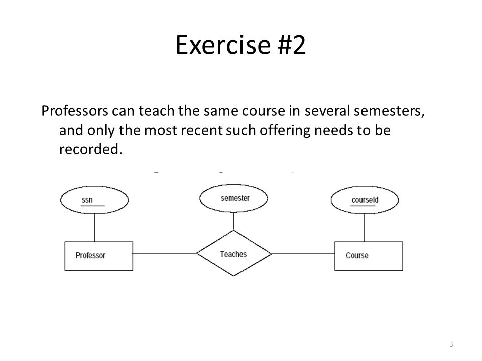 3 Professors can teach the same course in several semesters, and only the most recent such offering needs to be recorded. Exercise #2