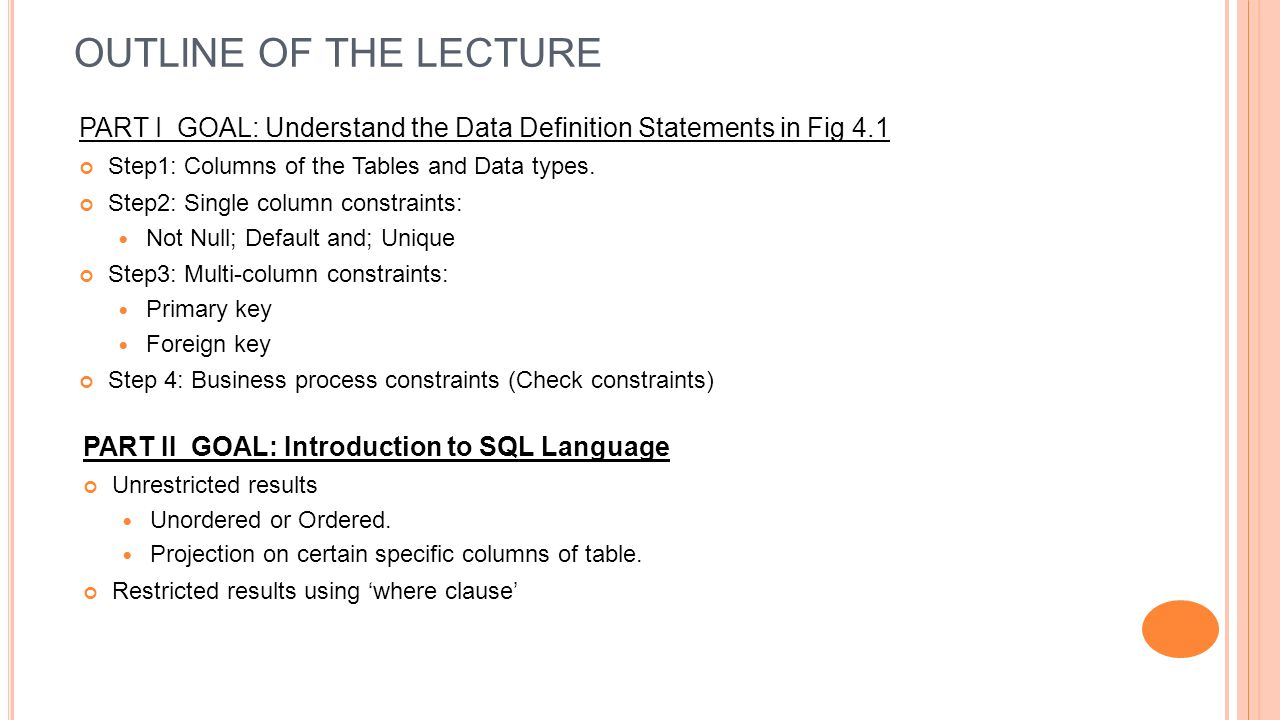 OUTLINE OF THE LECTURE PART I GOAL: Understand the Data Definition Statements in Fig 4.1 Step1: Columns of the Tables and Data types.