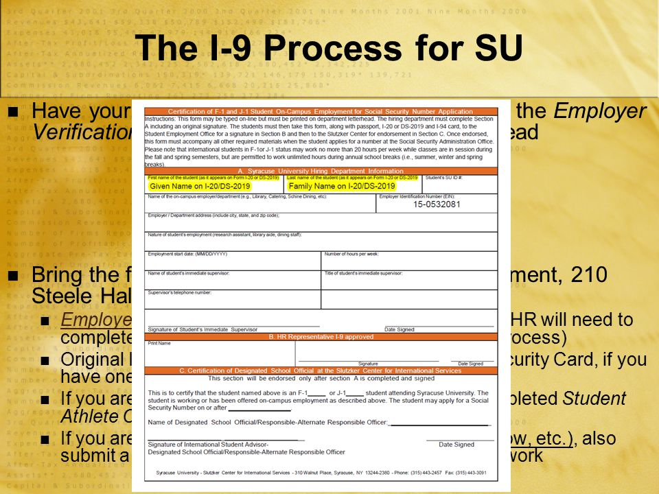 Have your future employer complete Section A of the Employer Verification Form and print on department letterhead Bring the following documents to Stu