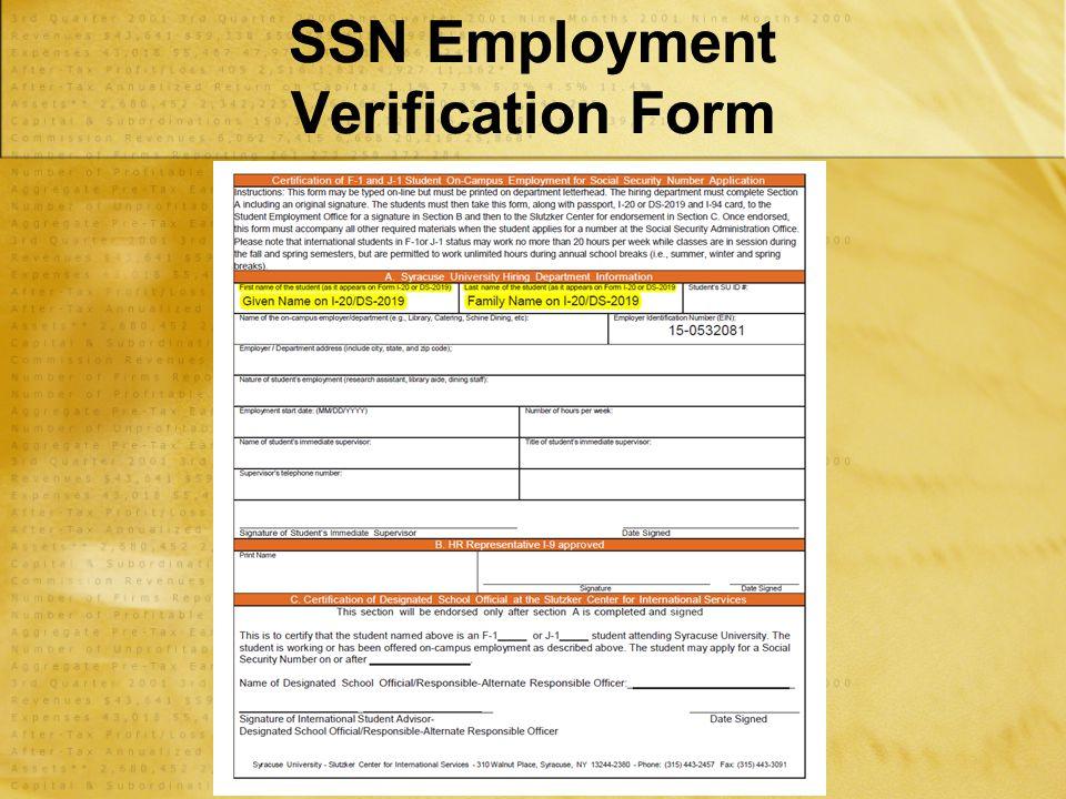 SSN Employment Verification Form