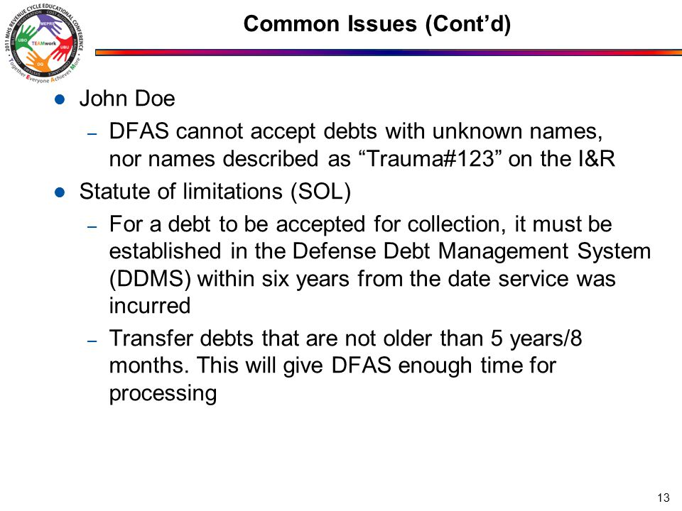 Common Issues (Cont'd) John Doe – DFAS cannot accept debts with unknown names, nor names described as Trauma#123 on the I&R Statute of limitations (SOL) – For a debt to be accepted for collection, it must be established in the Defense Debt Management System (DDMS) within six years from the date service was incurred – Transfer debts that are not older than 5 years/8 months.