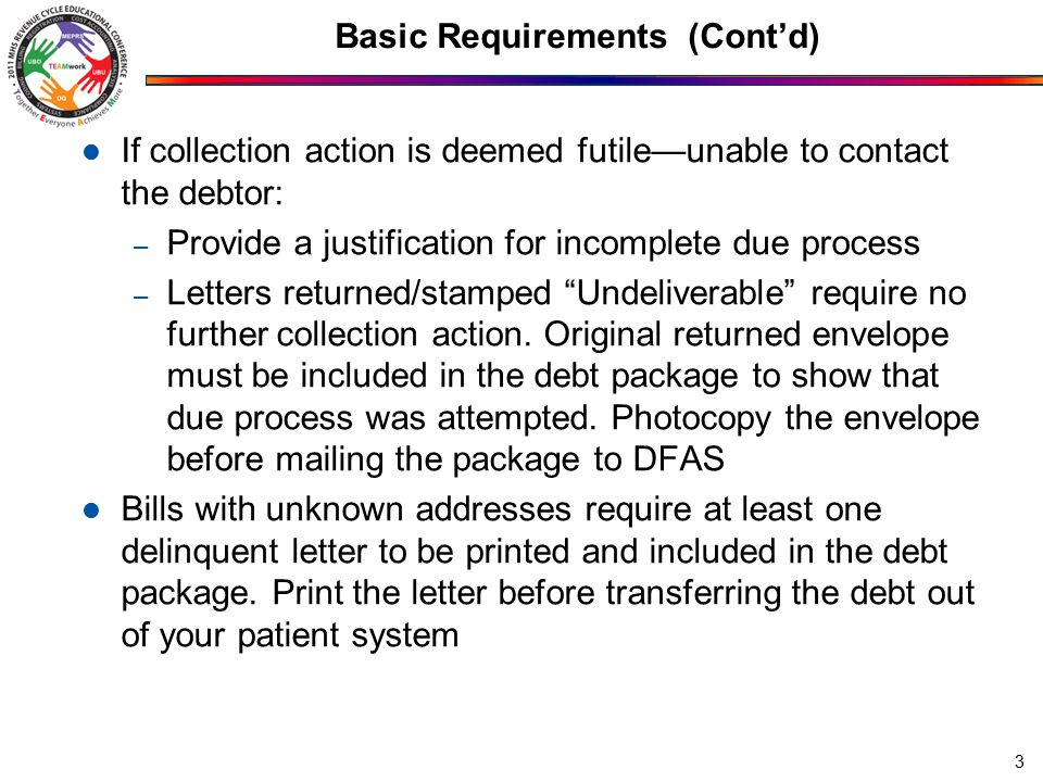 Basic Requirements (Cont'd) If collection action is deemed futile—unable to contact the debtor: – Provide a justification for incomplete due process – Letters returned/stamped Undeliverable require no further collection action.