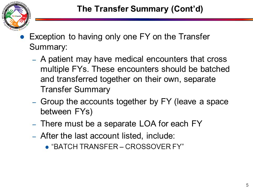 The Transfer Summary (Cont'd) Exception to having only one FY on the Transfer Summary: – A patient may have medical encounters that cross multiple FYs