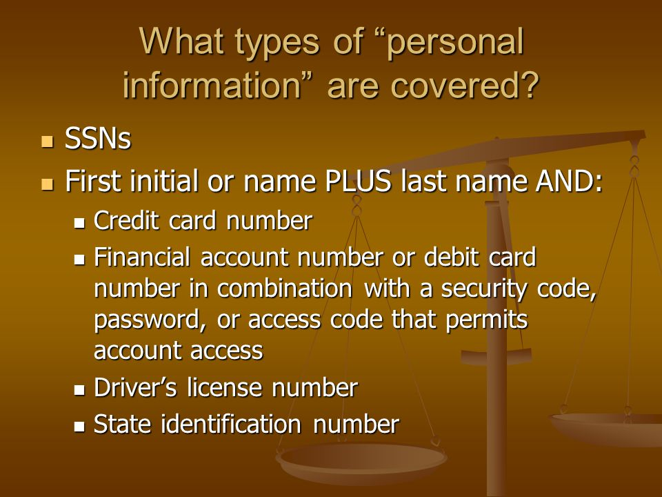 What types of personal information are covered.