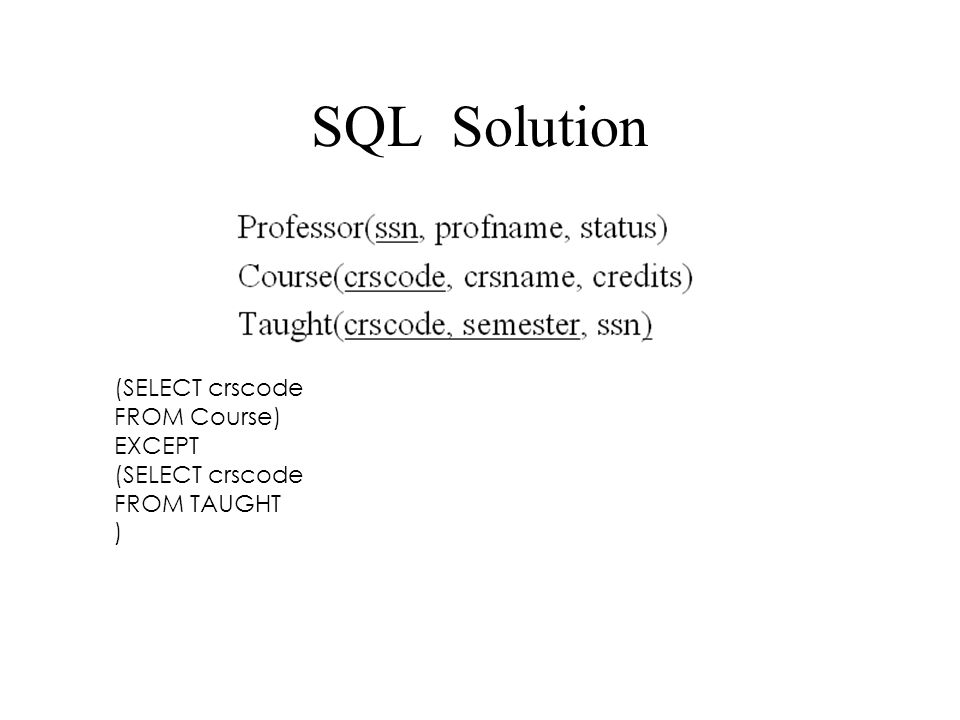 SQL Solution (SELECT crscode FROM Course) EXCEPT (SELECT crscode FROM TAUGHT )
