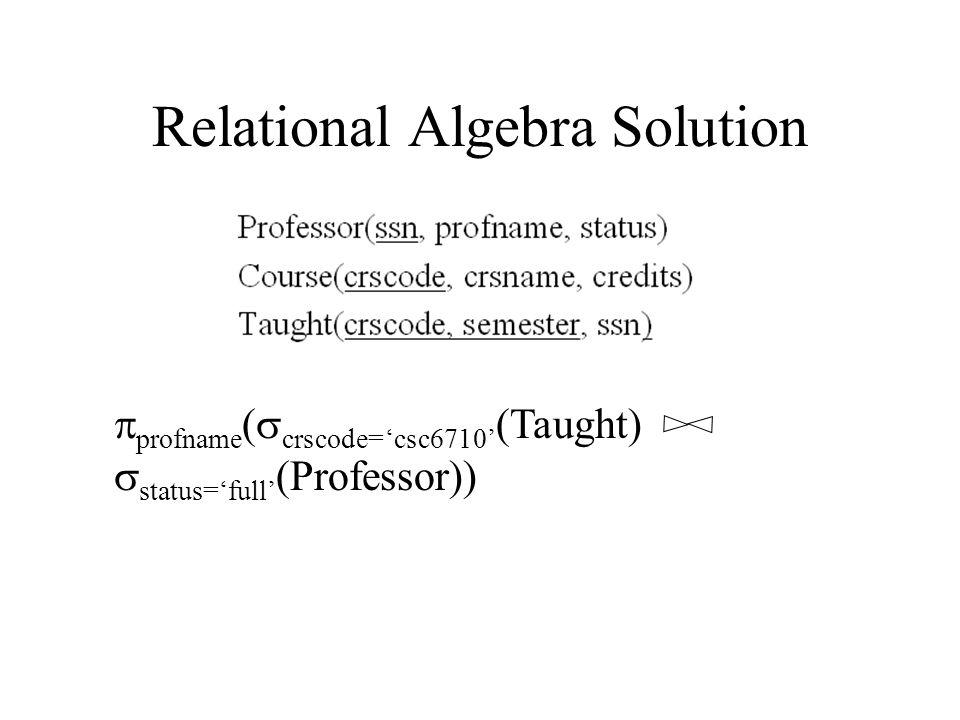 Relational Algebra Solution  profname (  crscode='csc6710' (Taught)  status='full' (Professor))