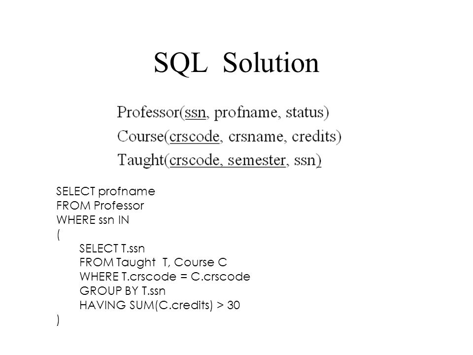 SQL Solution SELECT profname FROM Professor WHERE ssn IN ( SELECT T.ssn FROM Taught T, Course C WHERE T.crscode = C.crscode GROUP BY T.ssn HAVING SUM(