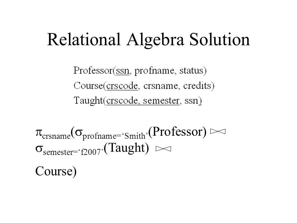 Relational Algebra Solution  crsname (  profname='Smith' (Professor)  semester='f2007' (Taught) Course)
