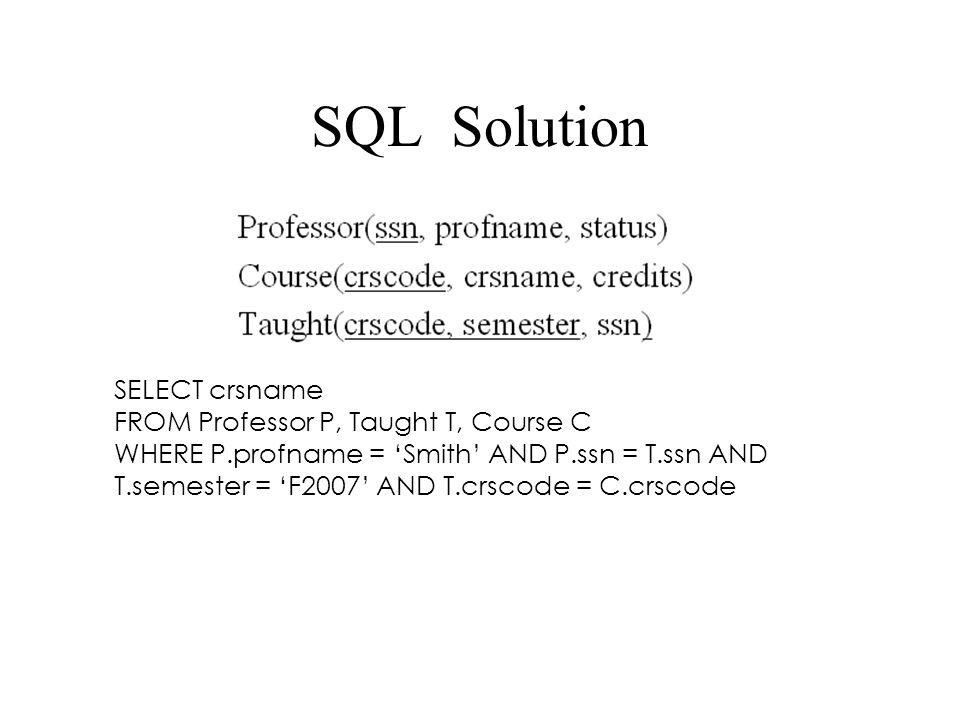 SQL Solution SELECT crsname FROM Professor P, Taught T, Course C WHERE P.profname = 'Smith' AND P.ssn = T.ssn AND T.semester = 'F2007' AND T.crscode =